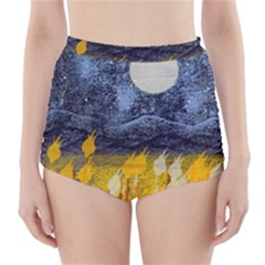 Blue and Gold Landscape with Moon High-Waisted Bikini Bottoms