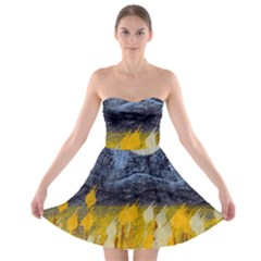 Blue and Gold Landscape with Moon Strapless Bra Top Dress