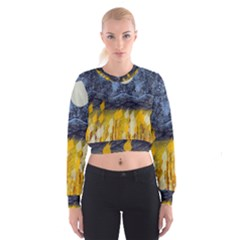Blue And Gold Landscape With Moon Cropped Sweatshirt
