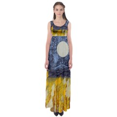 Blue And Gold Landscape With Moon Empire Waist Maxi Dress