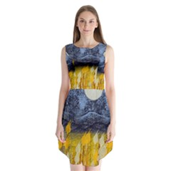 Blue and Gold Landscape with Moon Sleeveless Chiffon Dress