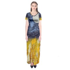 Blue And Gold Landscape With Moon Short Sleeve Maxi Dress