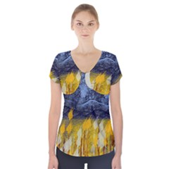 Blue And Gold Landscape With Moon Short Sleeve Front Detail Top