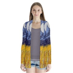 Blue And Gold Landscape With Moon Cardigans