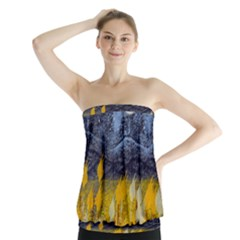 Blue And Gold Landscape With Moon Strapless Top