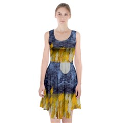 Blue And Gold Landscape With Moon Racerback Midi Dress