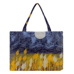 Blue And Gold Landscape With Moon Medium Tote Bag