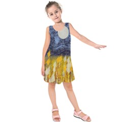 Blue And Gold Landscape With Moon Kids  Sleeveless Dress