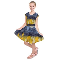 Blue And Gold Landscape With Moon Kids  Short Sleeve Dress