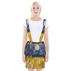 Blue And Gold Landscape With Moon Braces Suspender Skirt