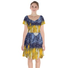 Blue And Gold Landscape With Moon Short Sleeve Bardot Dress