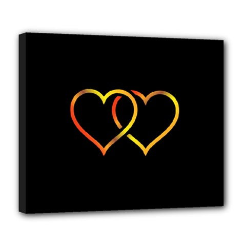 Heart Gold Black Background Love Deluxe Canvas 24  x 20