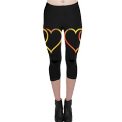 Heart Gold Black Background Love Capri Leggings