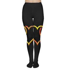 Heart Gold Black Background Love Women s Tights