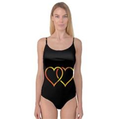 Heart Gold Black Background Love Camisole Leotard