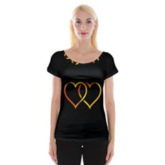 Heart Gold Black Background Love Women s Cap Sleeve Top