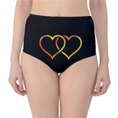 Heart Gold Black Background Love High Waist Bikini Bottoms