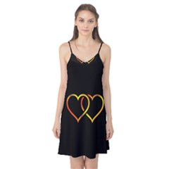 Heart Gold Black Background Love Camis Nightgown