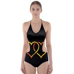 Heart Gold Black Background Love Cut Out One Piece Swimsuit