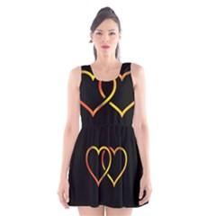 Heart Gold Black Background Love Scoop Neck Skater Dress