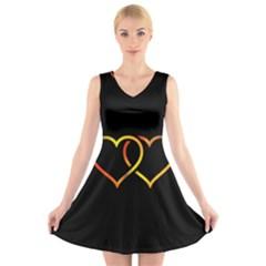 Heart Gold Black Background Love V Neck Sleeveless Skater Dress