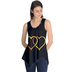 Heart Gold Black Background Love Sleeveless Tunic