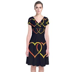 Heart Gold Black Background Love Short Sleeve Front Wrap Dress