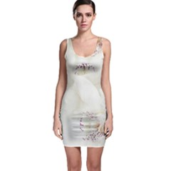 Orchids Flowers White Background Sleeveless Bodycon Dress