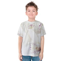 Orchids Flowers White Background Kids  Cotton Tee