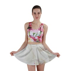 Orchids Flowers White Background Mini Skirt