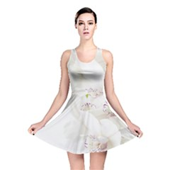 Orchids Flowers White Background Reversible Skater Dress