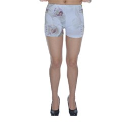Orchids Flowers White Background Skinny Shorts