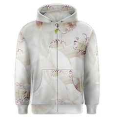 Orchids Flowers White Background Men s Zipper Hoodie