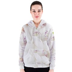 Orchids Flowers White Background Women s Zipper Hoodie