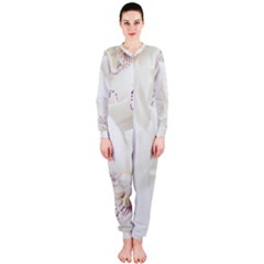 Orchids Flowers White Background Onepiece Jumpsuit (ladies)