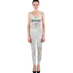 Orchids Flowers White Background Onepiece Catsuit