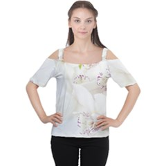 Orchids Flowers White Background Women s Cutout Shoulder Tee