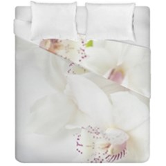 Orchids Flowers White Background Duvet Cover Double Side (california King Size)