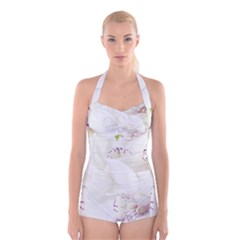 Orchids Flowers White Background Boyleg Halter Swimsuit