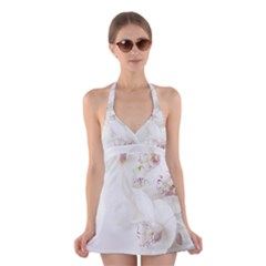 Orchids Flowers White Background Halter Swimsuit Dress