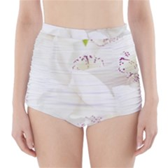Orchids Flowers White Background High-Waisted Bikini Bottoms
