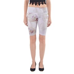 Orchids Flowers White Background Yoga Cropped Leggings