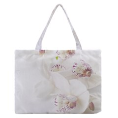 Orchids Flowers White Background Medium Zipper Tote Bag