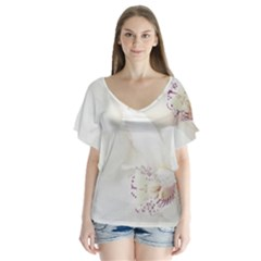 Orchids Flowers White Background Flutter Sleeve Top