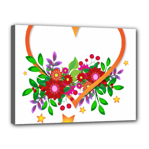 Heart Flowers Sign Canvas 16  X 12