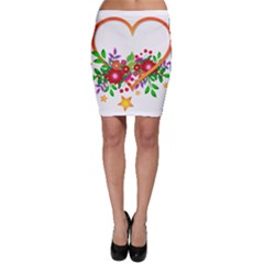 Heart Flowers Sign Bodycon Skirt
