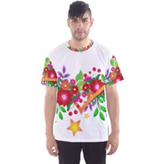 Heart Flowers Sign Men s Sports Mesh Tee