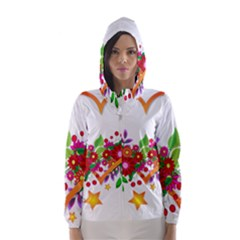Heart Flowers Sign Hooded Wind Breaker (Women)