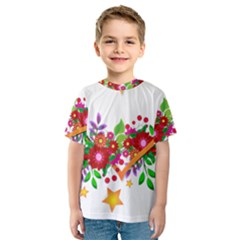 Heart Flowers Sign Kids  Sport Mesh Tee