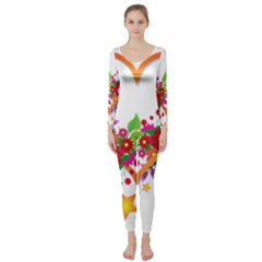 Heart Flowers Sign Long Sleeve Catsuit
